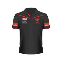 2017 Essendon Kids Media Polo - Black/Red