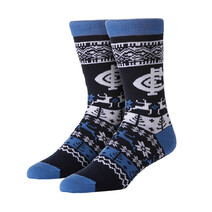 AFL Mens Ugly Xmas Socks Carlton Blues