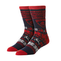 AFL Mens Ugly Xmas Socks Melbourne Demons
