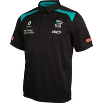 Port Adelaide Power ISC Mens Media Polo BLK/TEAL