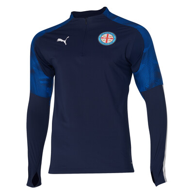 Melbourne City FC 19/20 - 1/4 Zip Top Peatcoat-Electric Mens